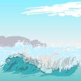 błękitny skał denny seascape nieba lato royalty ilustracja