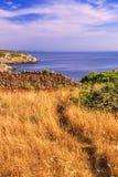 błękitny skał denny seascape nieba lato Salento wybrzeże: Podpalany Uluzzo (Lecka) Włochy (Apulia) Fotografia Royalty Free
