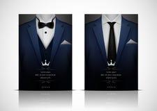 Błękitny smoking z łęku krawatem i kostium ilustracji