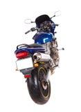 Błękitny sporta motocykl widok z powrotem Obrazy Stock