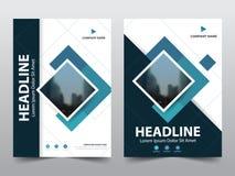 Błękitny sprawozdanie roczne broszurki ulotki projekta szablonu wektor, ulotki okładkowej prezentaci abstrakcjonistyczny płaski t Obraz Stock