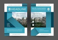 Błękitny sprawozdanie roczne broszurki ulotki układu szablon A4 rozmiar Przodu i plecy strona Wektorowy tło royalty ilustracja