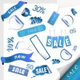 błękitny sprzedaży ustalone etykietki ilustracji