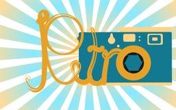 Błękitny, stary, retro, rocznik, antyk, modniś kamera z piękną retro inskrypcją na tle błękitni promienie royalty ilustracja