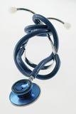 Błękitny stetoskop odizolowywający na białym tle Zdjęcie Royalty Free
