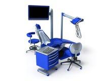 Błękitny stomatologiczny krzesło z błękitnym wezgłowie stołu 3d renderingiem na bielu Fotografia Royalty Free