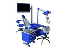 Błękitny stomatologiczny krzesło z błękitnym wezgłowie stołu 3d renderingiem na bielu Zdjęcie Royalty Free