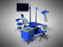 Błękitny stomatologiczny krzesło z błękitnym wezgłowie stołu 3d renderingiem na szarym b Obrazy Royalty Free
