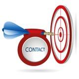 Błękitny strzałka celu cel Pomyślny krótkopęd z kontaktowym sztandarem Fotografia Royalty Free