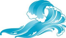 Błękitny surfingowiec Rozbija fala royalty ilustracja