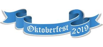 błękitny sztandar dla Oktoberfest 2019 ilustracja wektor
