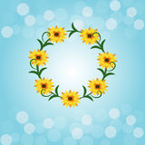 Błękitny tła bokeh światło z kwiatem Zdjęcie Stock