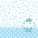 Błękitny tło z babeczką Fotografia Royalty Free