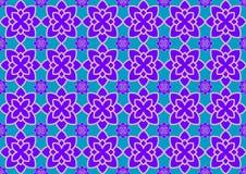 Błękitny tło z purpurowymi ornamentami Obrazy Stock