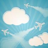 Błękitny tło z samolotami Fotografia Royalty Free