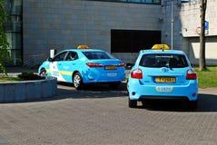 Błękitny taxi 1820 w Vilnius mieście na Kwietniu 26, 2014 Fotografia Stock