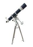 Błękitny teleskop na tripod odizolowywającym na białym tle Fotografia Royalty Free