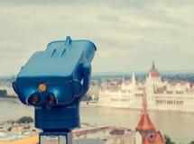 Błękitny teleskop przy Budapest, Węgry Retro stonowana fotografia Obrazy Royalty Free