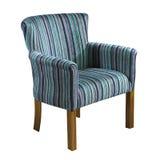 Błękitny tkaniny ręki krzesło odizolowywający na białym tle Fotografia Stock