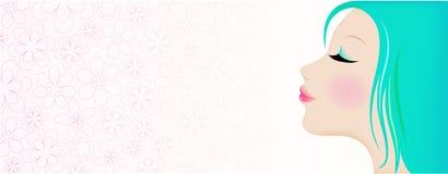 błękitny twarzy włosiana s kobieta ilustracja wektor