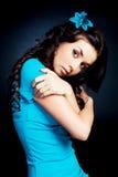 błękitny ubierająca dziewczyna Obrazy Stock