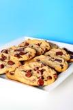 błękitny układ scalony czekoladowych ciastek przyrodni biel Obraz Royalty Free