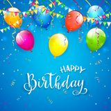 Błękitny Urodzinowy tło z banderkami i balonami Zdjęcia Royalty Free