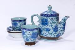 błękitny ustalona herbata Fotografia Royalty Free