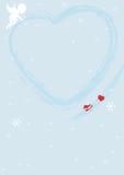 Błękitny valentine tło z sercem royalty ilustracja