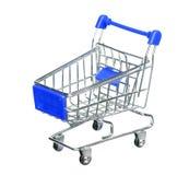 Błękitny wózek na zakupy Odizolowywający Na bielu Zdjęcie Royalty Free