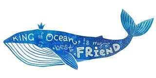 Błękitny wektorowy wieloryb z literowania królewiątkiem ocean jest mój najlepszym przyjacielem w akwarela stylu Obraz Stock