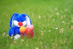 Błękitny Wielkanocny królik z koszem Wielkanocni jajka Zdjęcie Stock