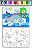 Błękitny wieloryb na tle ocean kolorystyka dla dziecko kreskówki ilustraci biały, czarny i kolorze, Obrazy Royalty Free
