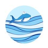 Błękitny wieloryb z papierową łodzią na kierowniczej kreskówki ilustraci odizolowywającej na falowym tle, wektorowy kolorowy dood Obraz Stock