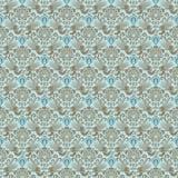Błękitny wiktoriański rocznika adamaszka bezszwowa tapeta Obrazy Stock