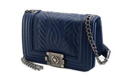 Błękitny women& x27; s torebka na białym tle Zdjęcie Royalty Free