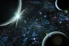 Błękitny wschód słońca nad błękitną planetą z dwa satelitą Zdjęcie Stock