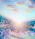 Błękitny zamazany natury tło z światła słonecznego ang niebem Obraz Royalty Free