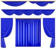 Błękitny zasłona projekt na bielu Zdjęcia Royalty Free