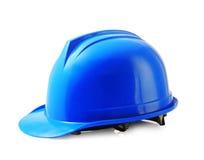 Błękitny zbawczy hełm na białym, ciężkim kapeluszu, odizolowywał ścinek ścieżkę Zdjęcia Royalty Free
