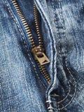 błękitny zbliżenia cajgowy suwaczek Zdjęcie Royalty Free