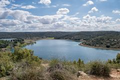 błękitny zieleni krajobraz obrazy stock