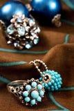 błękitny zieleni pierścionki Obraz Royalty Free