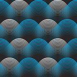 Błękitnych białych geometrical linii bezszwowy deseniowy tło Obrazy Royalty Free