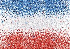Błękitnych, Białych i Czerwonych confetti Horyzontalni lampasy Backgound, Abstrakcjonistyczna confetti układu flaga royalty ilustracja