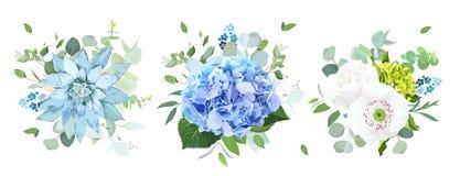 Błękitnych i białych kwiatów projekta wektorowi bukiety Zdjęcia Stock