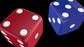 B??kitnych i czerwonych kasynowych kostek do gry alfa kana? ilustracji