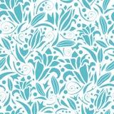 Błękitnych leluj sylwetek bezszwowy deseniowy tło Zdjęcia Stock