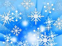 Błękitnych płatka śniegu tła przedstawień Pogodowy marznięcie I zima royalty ilustracja