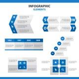 Błękitnych prezentacja szablonów Infographic elementsflat Abstrakcjonistyczny projekt ustawia dla broszurki ulotki ulotki marketi Obraz Royalty Free